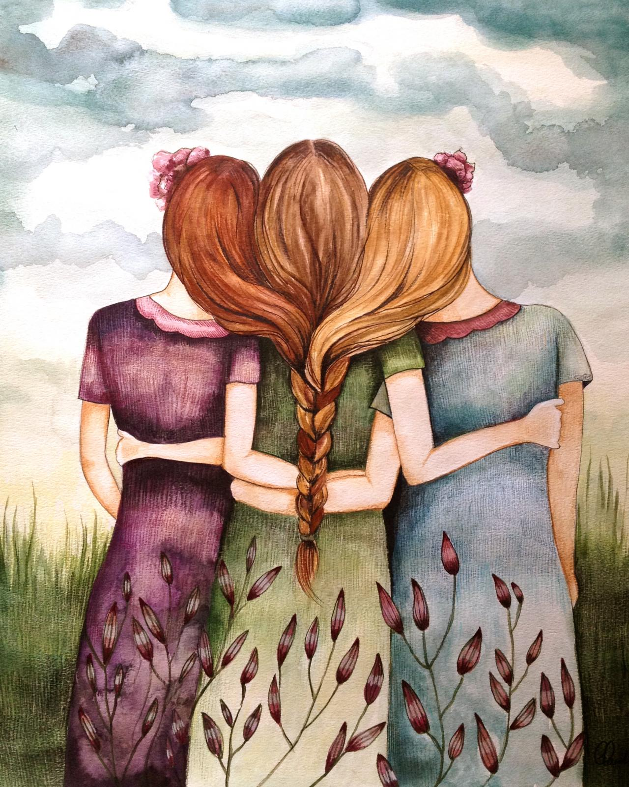 tree sisters best friends art print on luulla